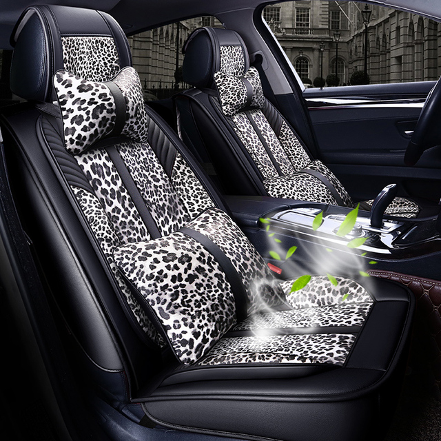 Luxury Leopard Print Car Seat Cover Universal car-styling auto seat cushions For BMW Audi Toyota Honda Chevrolet Reno Ford All S