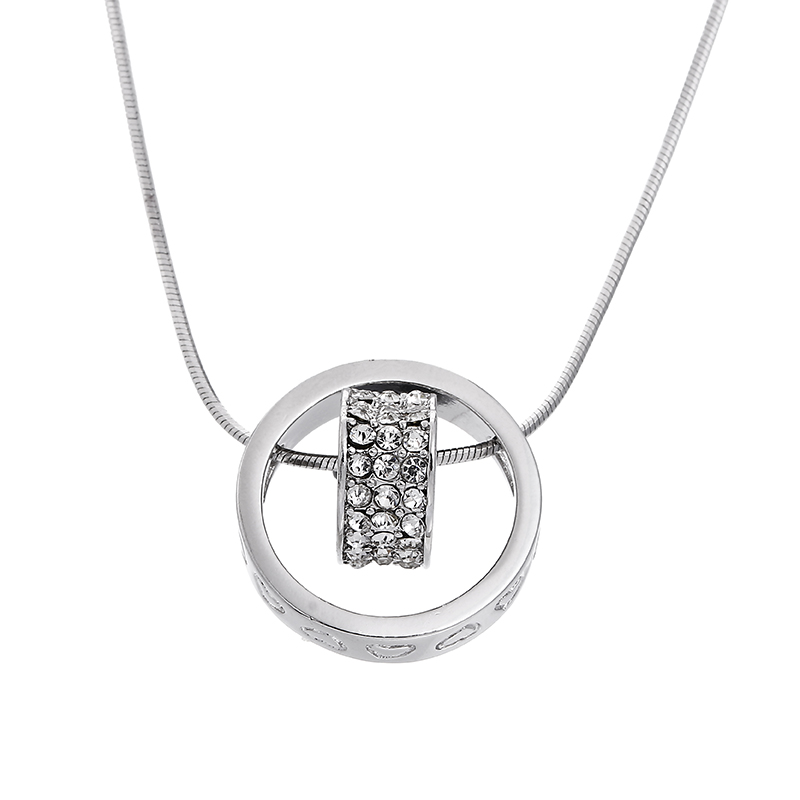 100% 925 sterling silver romantic love heart shiny crystal ladies`pendant necklaces snake
