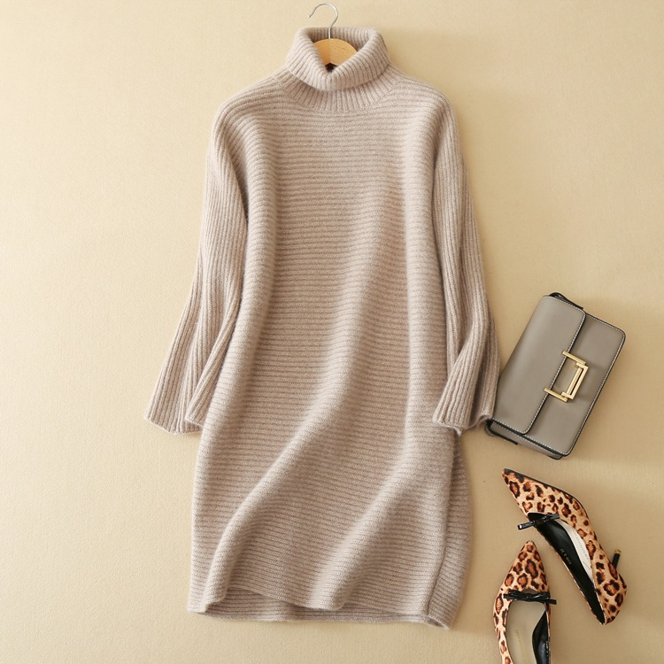 SHUCHAN 2017 Winter Cashmere Dress Woman New Arrival Cashmere Knitted Dresses Autumn And Winter Fashion Elegant Basic B351 in Dresses from Women 39 s Clothing