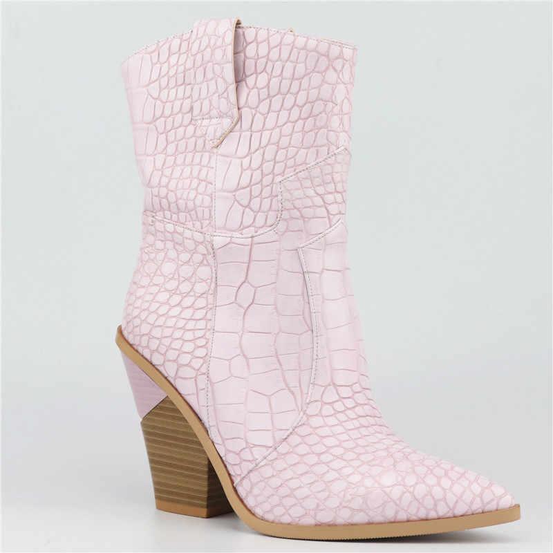 ASUMER Boyutu 34-46 SıCAK 2019 Yeni moda yarım çizmeler Kadın Sivri Burun Sonbahar Kış Çizmeler Kalın Yüksek Topuklu Kadınlar bayan Botları Bayan