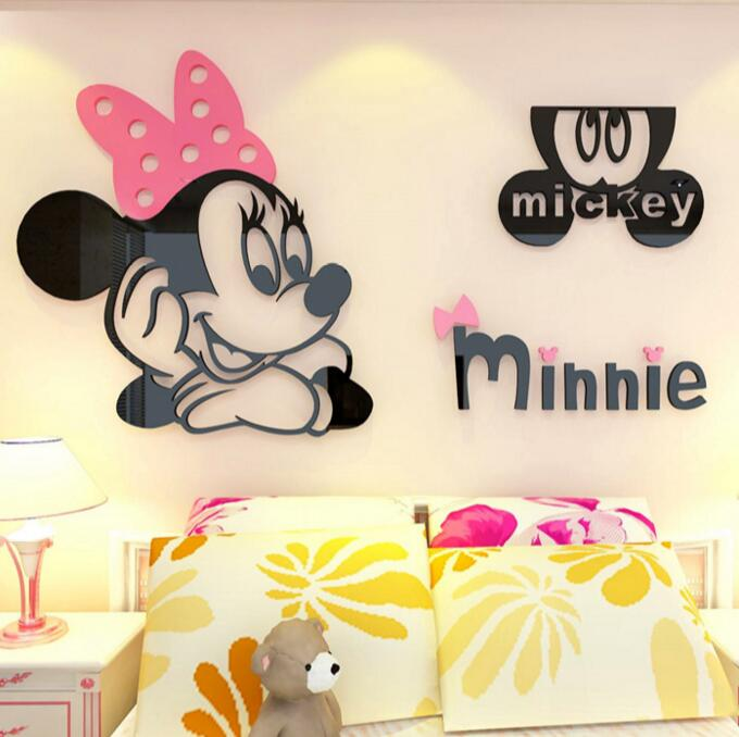 US $16 23 32% OFF 3D Cartoon Mickey Minnie Acrylic Wall Stickers For  Bedroom Furniture Living room sofa TV backdrop entrance Acrylic Stickers-in  Wall