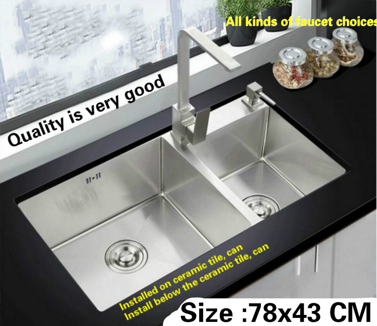 Free shipping kitchen sink 304 stainless steel 3 mm hand made double groove hot sell 780x430 MM free shipping food grade 304 stainless steel hot sell kitchen sink double trough 0 8 mm thick ordinary 78x43 cm