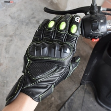 цена Motocross Racing Genuine Leather Gloves moto Motorbike Touchscreen Waterproof Gloves Motorcycle Downhill Cycling Riding Gloves онлайн в 2017 году