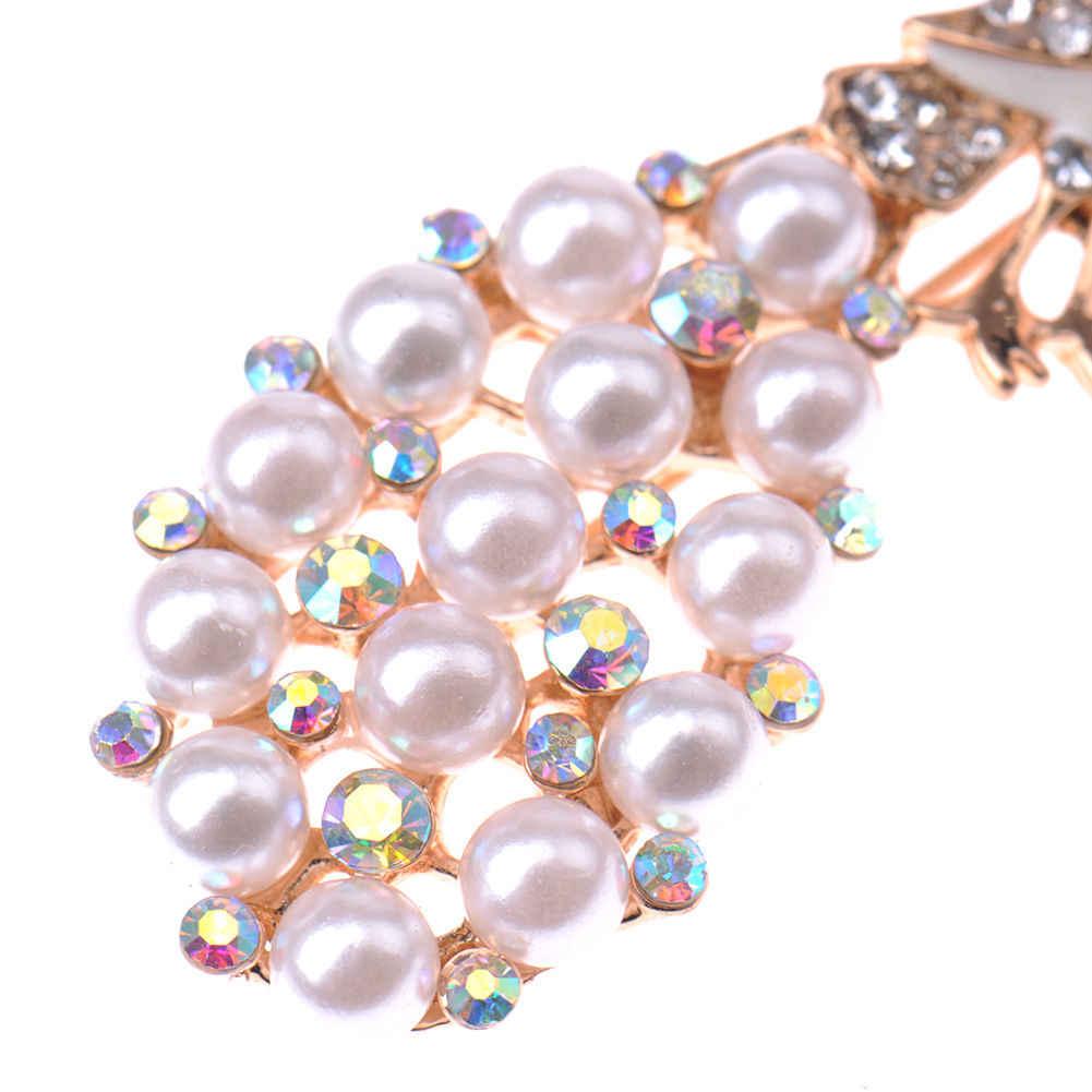 Perla Strass di Cristallo Del Pavone Spilla Spille Bouquet Decorazione di Cerimonia Nuziale Nuziale Chic Gioielli Di Natale di Cristallo spille