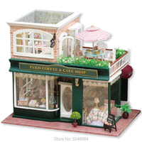 CUTE ROOM Set DIY Doll House Wooden Toy 3D DollHouses Miniature With Furniture LED Lights Handmade Craft Birthday Gift