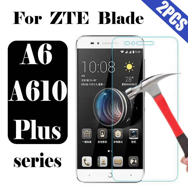 Protective glass on the for <font><b>ZTE</b></font> <font><b>Blade</b></font> a6 a610 plus screen protector film a 610plus <font><b>a610plus</b></font> tremp 6a 9h tempered glas 2pcs image