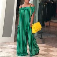 2018 Summer New Fashion Women Loose Boho Pocket Design Long Romper Female Contrast Stripes Off Shoulder Wide Leg Jumpsuit