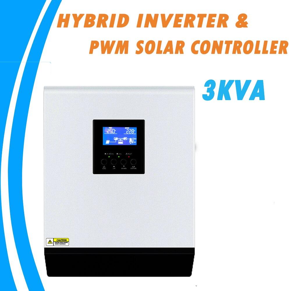 3KVA czysta fala sinusoidalna hybrydowy inwerter słoneczny 24V 220V wbudowany PWM 50A regulator ładowania słonecznego i ładowarka ac do użytku domowego PS-3K