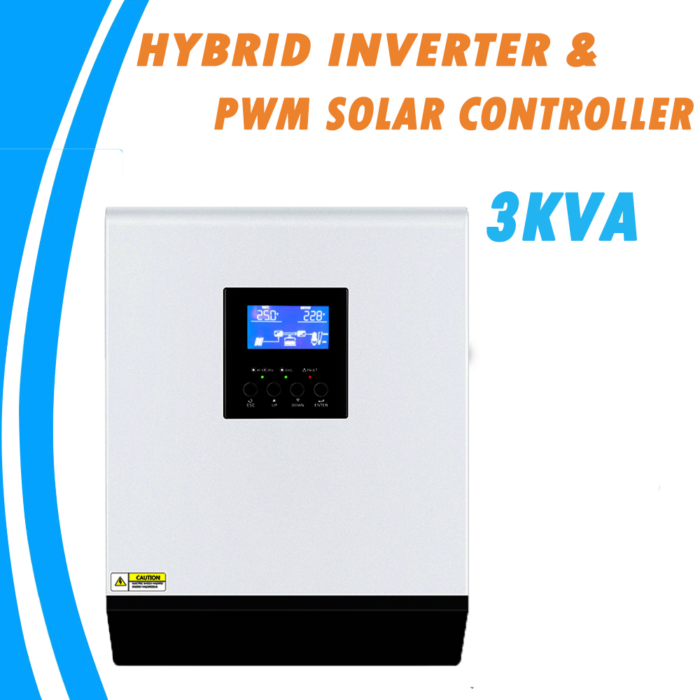 3KVA Pure Sine Wave Hybrid Solar Inverter 24V 220V Built in PWM 50A Solar Charge Controller and AC Charger for Home Use PS 3K