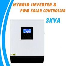 3KVA saf sinüs dalga hibrid güneş inverteri 24V 220V 110V dahili PWM 50A güneş şarj regülatörü ve AC şarj aleti ev kullanımı için