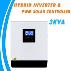 Onduleur solaire hybride ondulé 3KVA 24V 220V | Contrôleur de Charge solaire PWM 50A intégré, chargeur AC, pour usage domestique