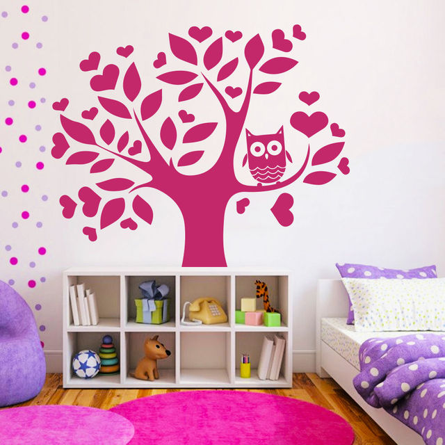 1.3 M Love Tree Owl Wall Decals Kids Nursery Art Vinyl Mural Bedroom Wall  Stickers Carved