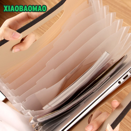 Vertical A4 Expanding File Folder Document Wallet Organizer Bag 13 Layer Simple And Solid