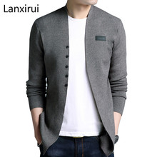 Brand 2018 Hot Sell Middle -Long Length Mens Solid Sweater Cardigan Trench Male Casual Autumn Pure Color