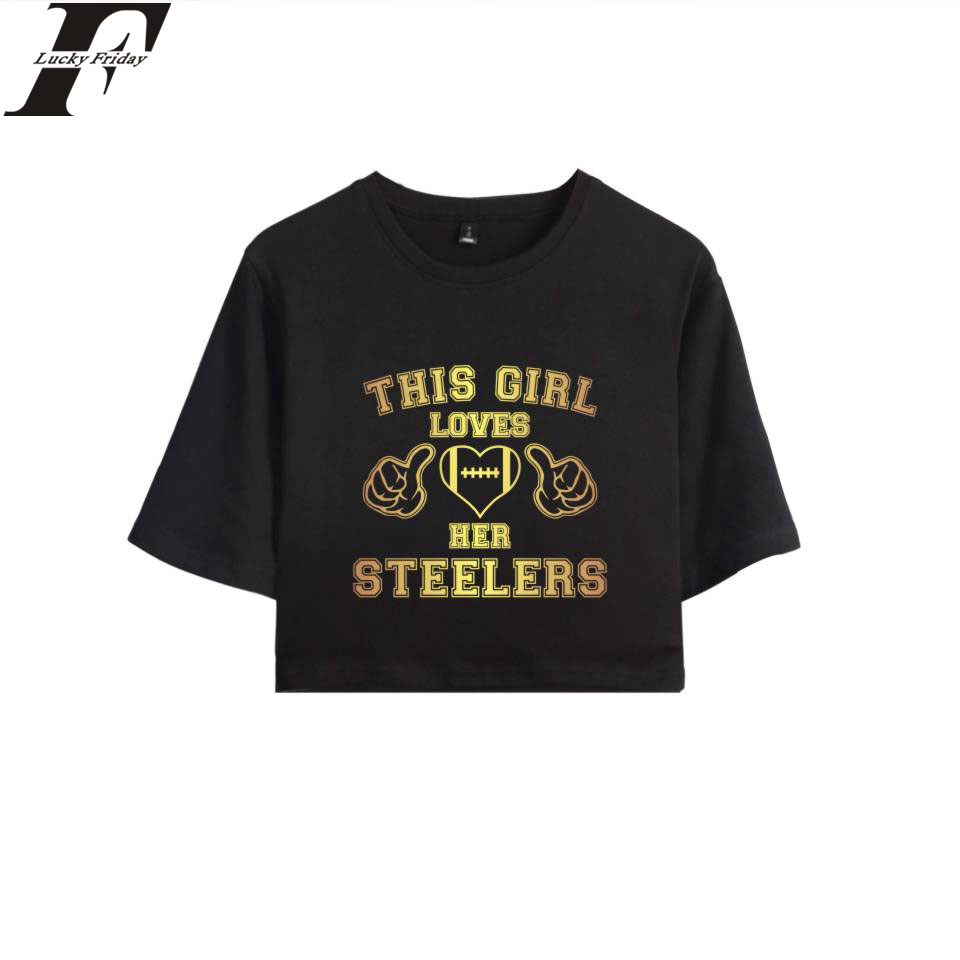 0041ed0f3ebc7 Detail Feedback Questions about This Girl Loves Her Steelers Crop Top T  shirt 100% Cotton Short Sleeve T shirt Hip Hop Clothes Casual Plus Size 4XL  on ...