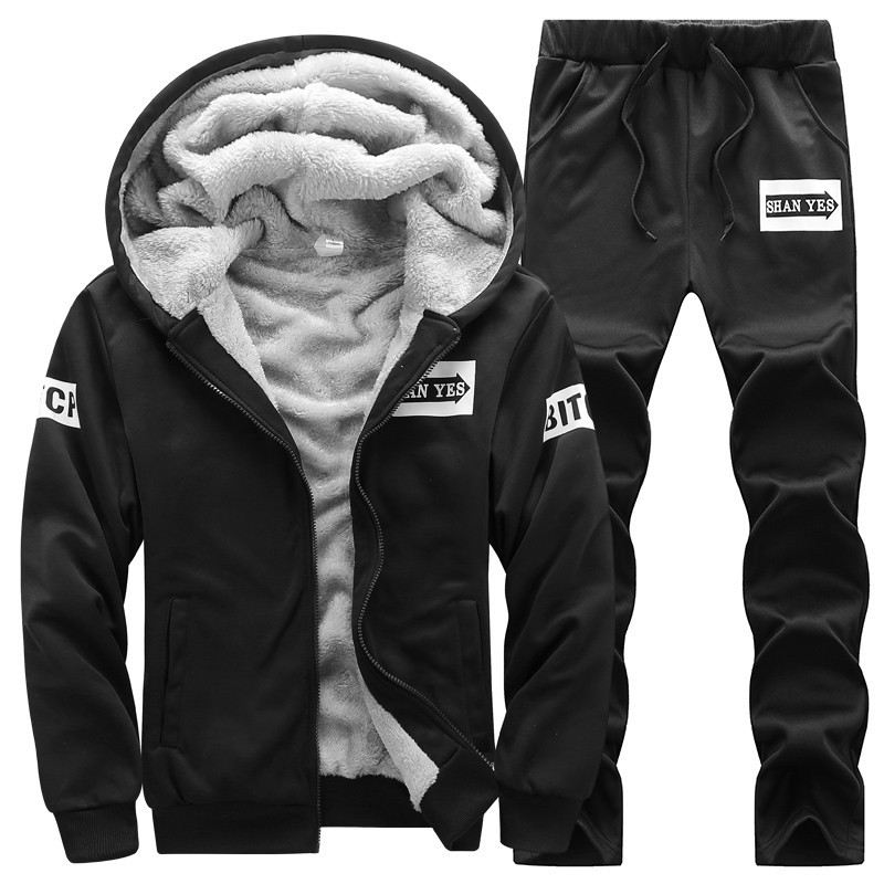Image 3 - New Sporting Sets Fleece Thick Hooded Brand Clothing Casual Track  Suit Men Jacket Pant Warm Fur Inside Winter SweatshirtMens Sets   -