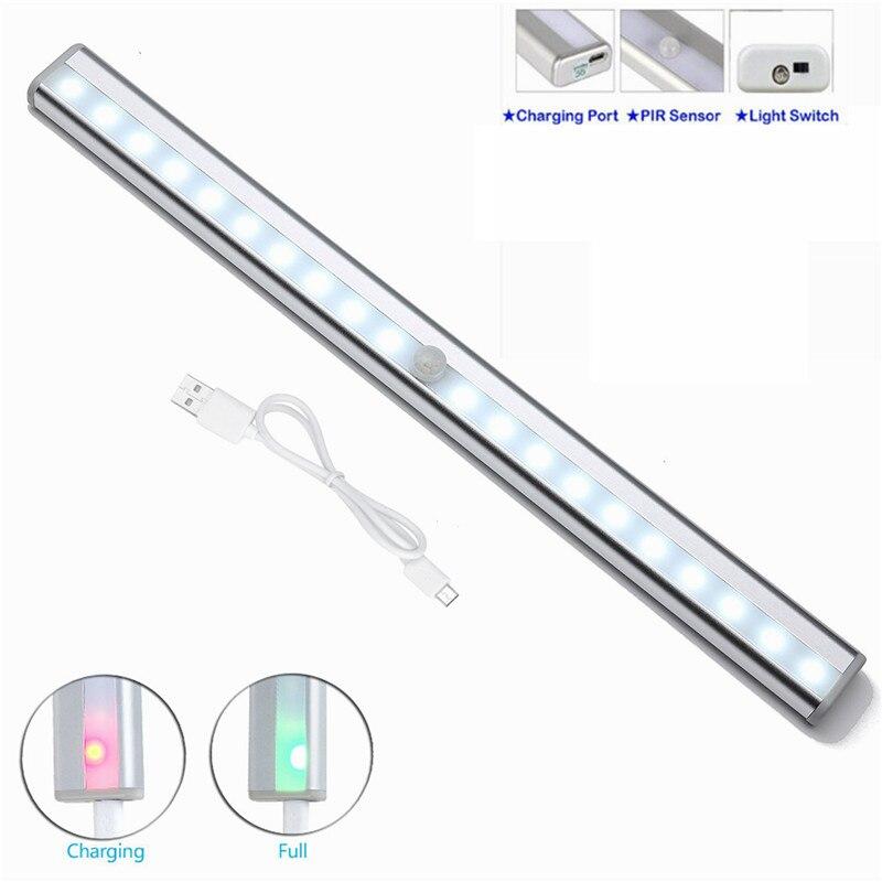 10/20 LED Sob o Armário de iluminação Da Lâmpada de Luz Sensor de Movimento para Roupeiro Armário Armário Da Cozinha de Carregamento USB Luz Da Noite
