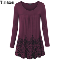 Timeson Floral Rose Print Women S Long Sleeve T Shirt For Autumn Spring Solid Blouse Ruffled