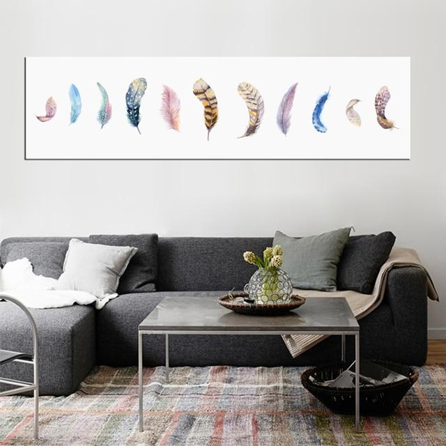 Acuarela Abstracta Pinturas Poster Nordic Plumas Paredes Pintura - Decoracion-paredes-pintura