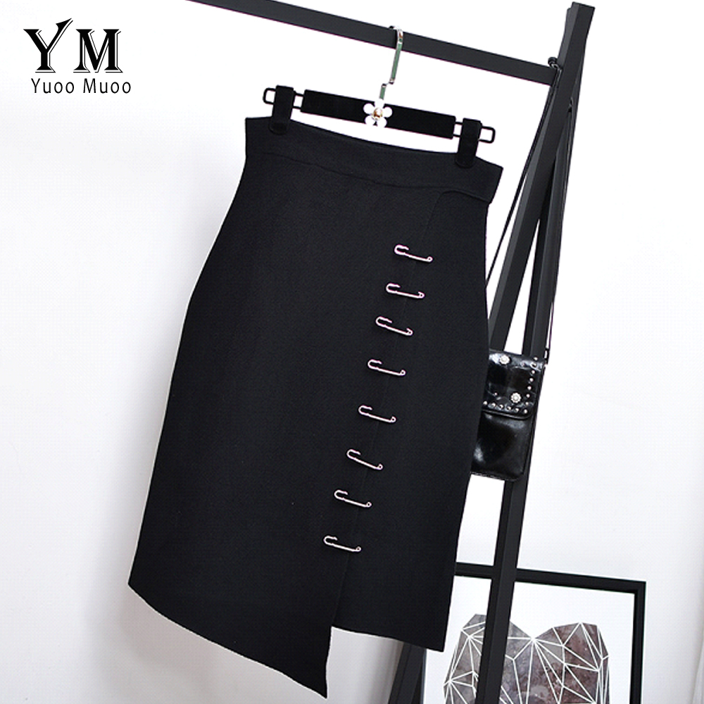 YuooMuoo New High Waist Knitted Black Skirt Women Push Up Elegant Skirt European Fashion Slim Elastic Autumn Winter Skirt saias