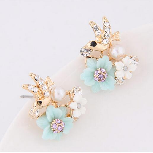 Gold and silver Jewelry Cute Bird Crystal Stud Earrings For Women Girl Statement Pendientes Brincos