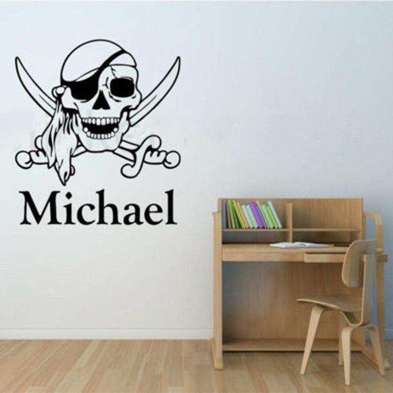 Pirate Skull & Swords Personalised Any Name Wall Art Vinyl