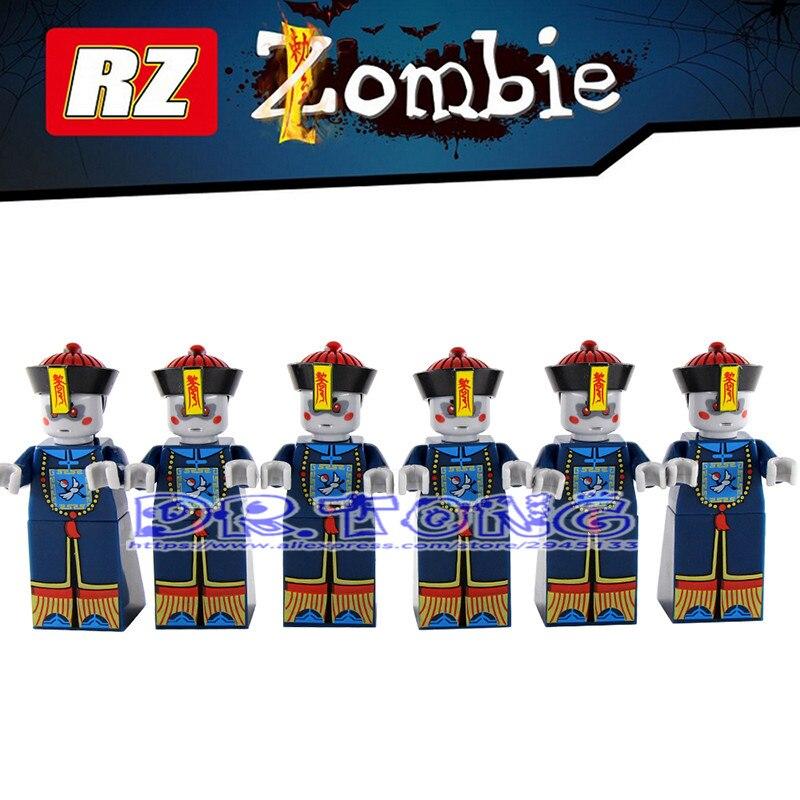 DR.TONG 6PCS Zombies Building Blocks Assembled Blocks Zombies Star Wars Movie Bricks DIY Toys Children Gifts RZ001