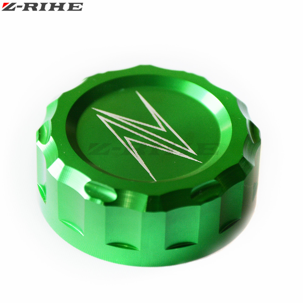 CNC Motorcycle Aluminum Cylinder Rear Fuel Brake Fluid Reservoir Cover Tank Cap For KAWASAKI ZX300R ZX250R 13-14 Z800 13-14