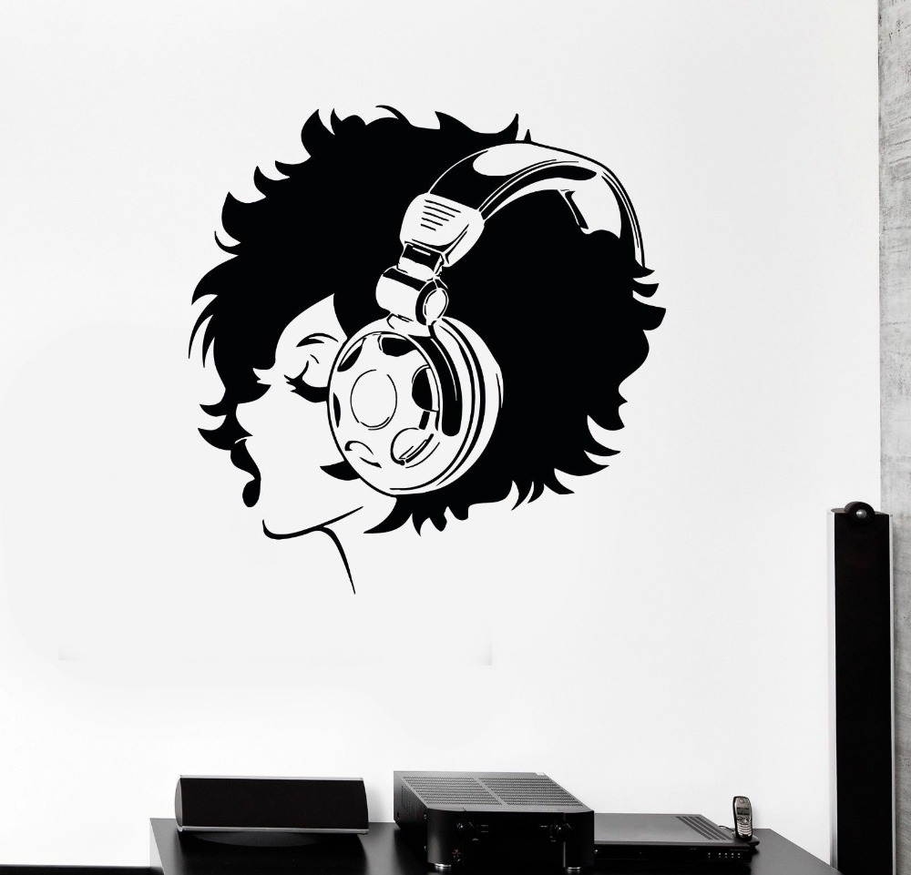 High-quality headphones teen girl fashion home living room wall stickers DIY Art Mural decals Decoration F-187