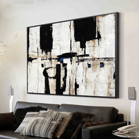 Handmade thick knife abstract high quality oil painting Black and white blocks on Canvas Painting Decor Oil Painting artwork