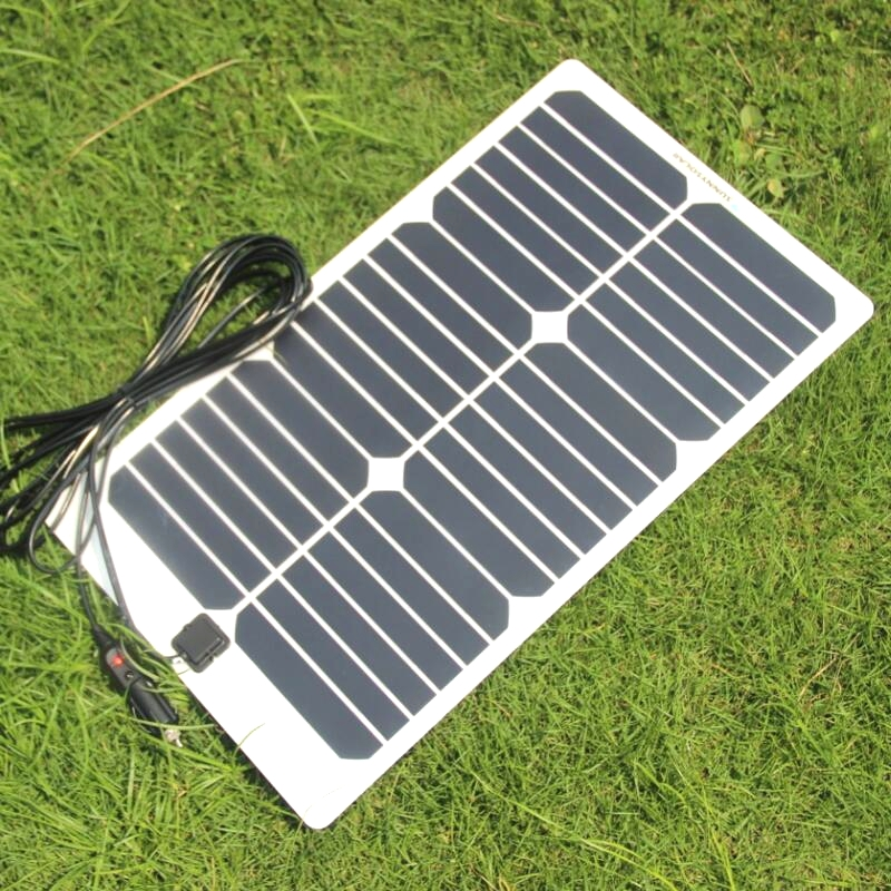 BUHESHUI Semi-flexible Sunpower 20W 18V Solar Panel Charger For 18V Car Boat Motor Battery Charger DIY Solar System 2Pcs/lot sp 36 120w 12v semi flexible monocrystalline solar panel waterproof high conversion efficiency for rv boat car 1 5m cable