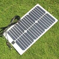 BUHESHUI Semi flexible Sunpower 20W 18V Solar Panel Charger For 18V Car Boat Motor Battery Charger DIY Solar System 2Pcs/lot