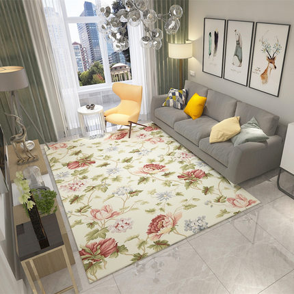 Simple Nordic Modern Carpet American New Chinese Flower Living Room Coffee Table Sofa Bedroom Bedside Mat in Carpet from Home Garden