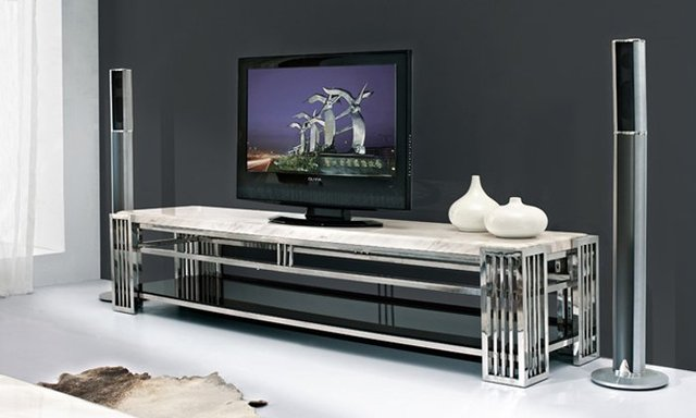 Hotel meubilair met roestvrij staal zwart gelakt gehard glas tv
