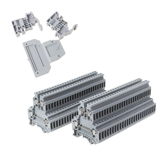 50 adet UKK3 DIN ray çift seviye çift sıralı Terminal bloğu 500V 25A 28 12AWG gri
