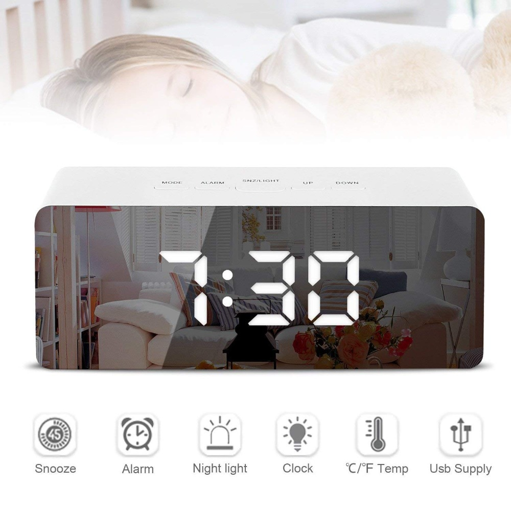 HTB1nFwoX8aE3KVjSZLeq6xsSFXan LED Mirror Alarm Clock Digital Snooze Table Clock Wake Up Light Electronic Large Time Temperature Display Home Decoration Clock