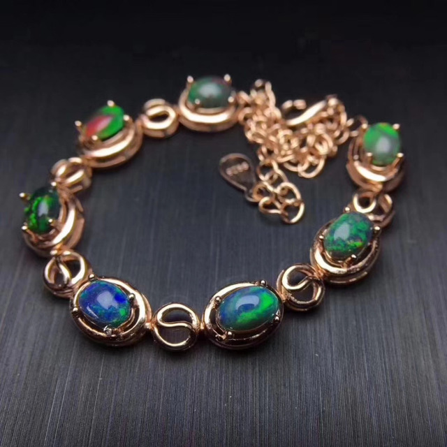 Elegant Round Natural Black Opal Bracelet Gemstone S925 Silver Woman Party Gift
