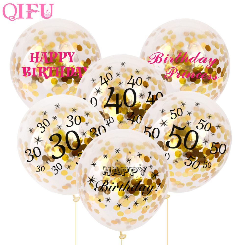 QIFU 5pcs 50th 30th Confetti Balloon Air 50 40 30 Birthday Balloons Party Decorations Adult