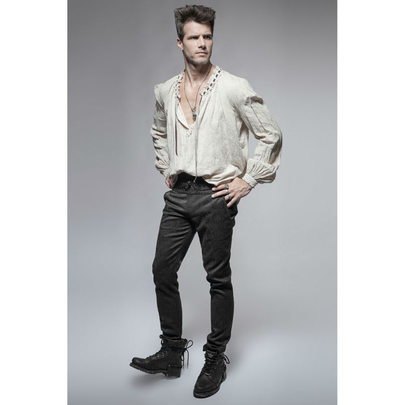 21a1b789adc160 PUNK RAVE Mens Pants Steampunk Fashion Retro Daily Gothic Peacock Button  Casual High Waist Slim Fitting Trousers Wedding Pants-in Casual Pants from  Men's ...
