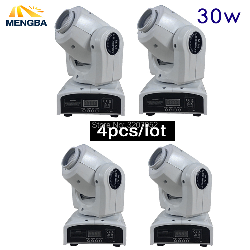 2018 4pcs Stage Disco light 30W LED mini moving head Light 9/11 channels stage lights effect Dmx 512 Sound Control Auto Rotat led 30w gobo light 30w led spot moving head 30w dj disco light dmx effect stage lighting party holiday lights