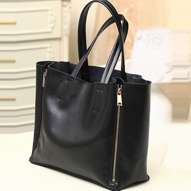 2017 modë Qese e zezë lëkure e zezë lëkure çanta për gratë - Çanta dore - Foto 2
