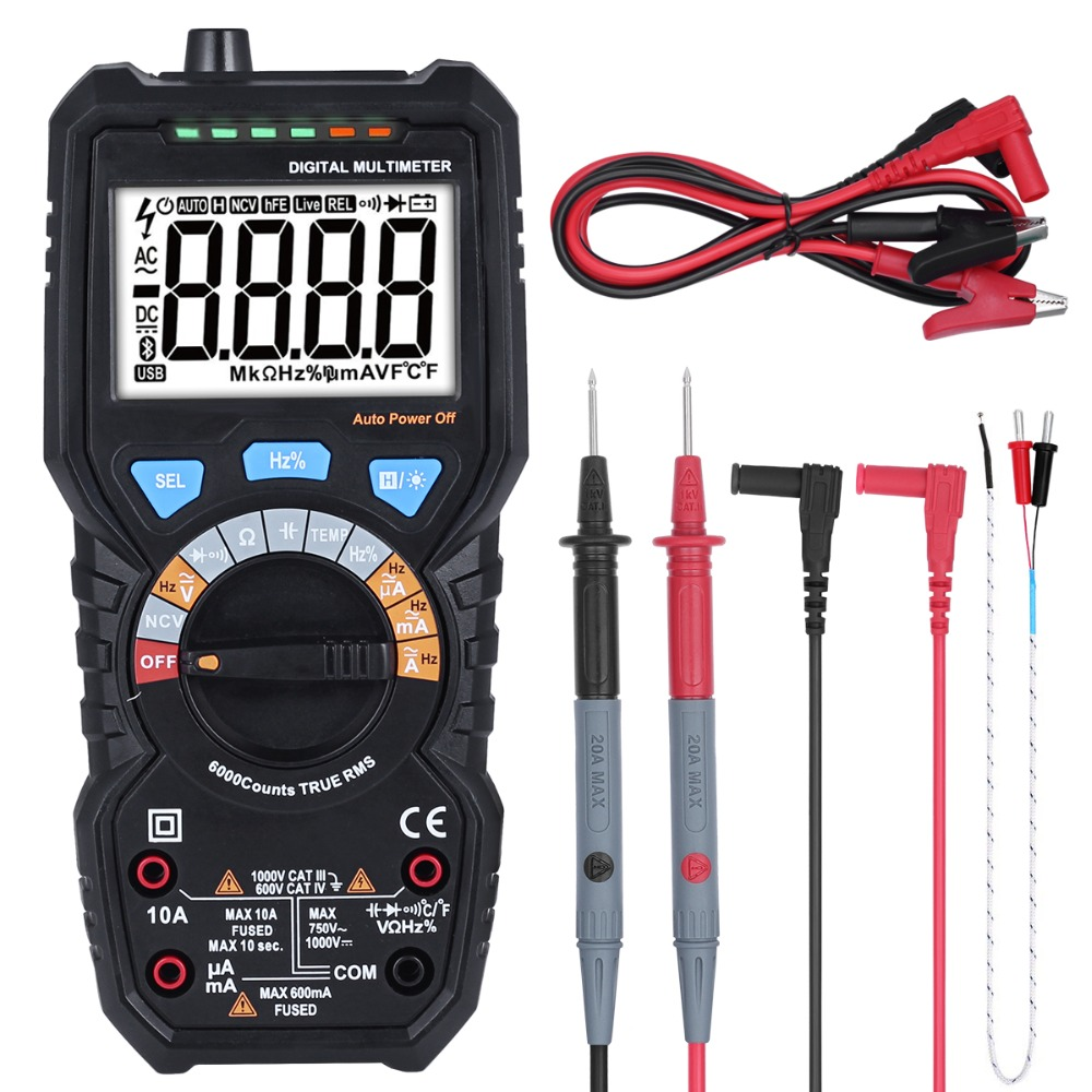 BSIDE ADM08D Ture RMS multimètre digital AC/DC Tension Courant Température Fréquence Résistance Capacité testeur ncv VS PM18C