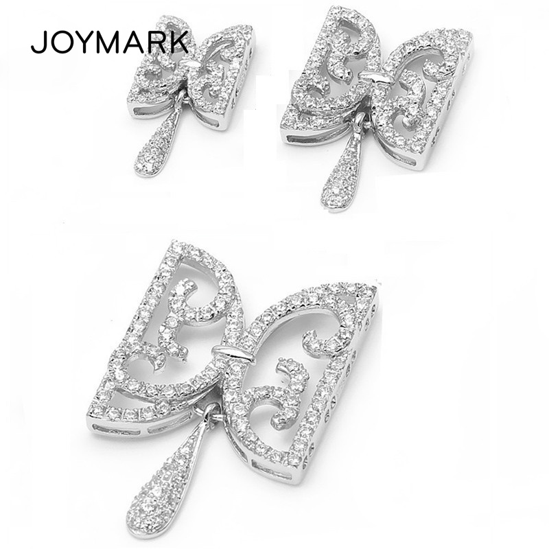 2,3,4 Rows Micro Pave CZ Stones Zircon 925 Sterling Silver Connector Clasps For Pearl Necklace Bracelet SC CZ013