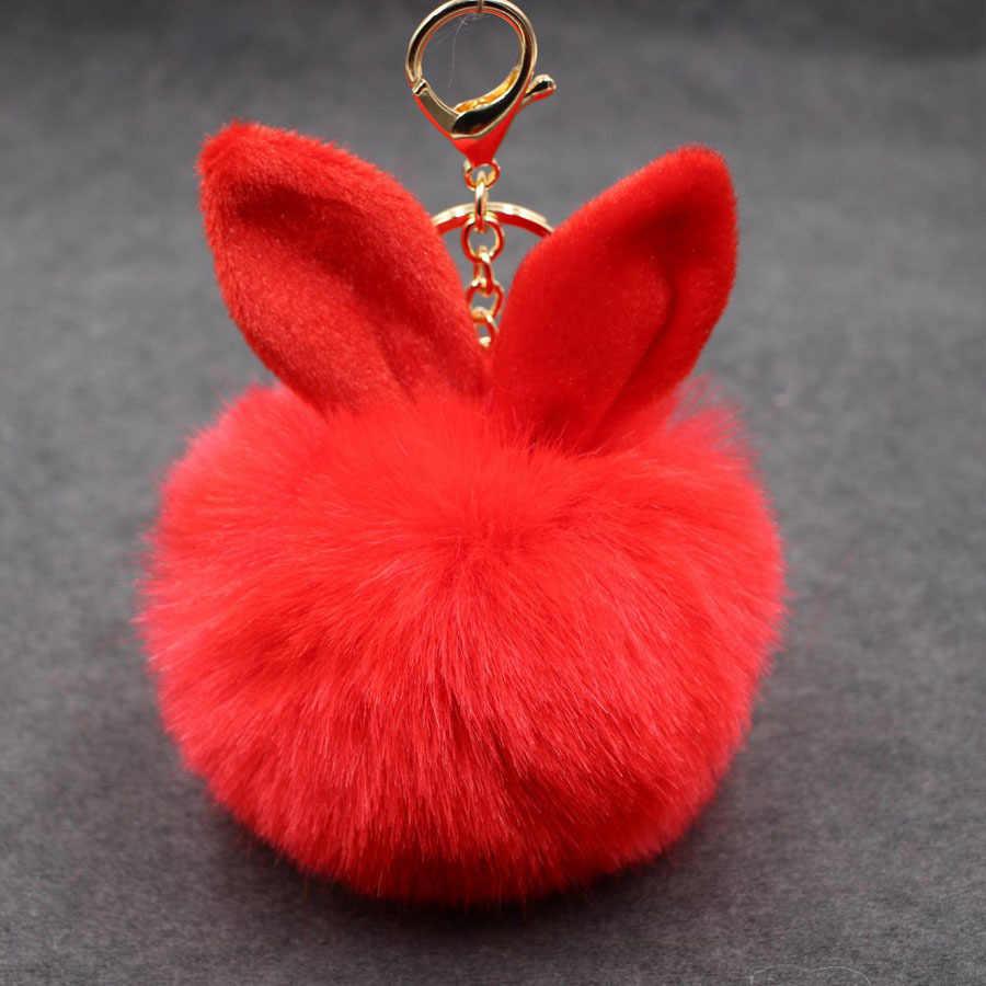 Pom Pom Coelho Orelhas de Coelho Mulher Chave de Cadeia Chaveiro Keychain para As Mulheres Saco de Pele De Coelho Macio Chaveiro Chaveiro Gits llaveros