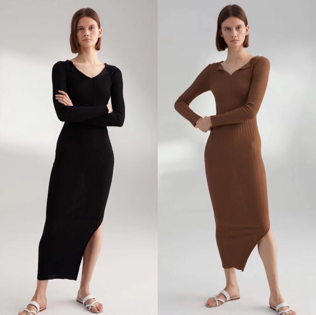 Women Casual V neck Slim Silhouette Ustrous Ribbed Fabric Slim Maxi Dress