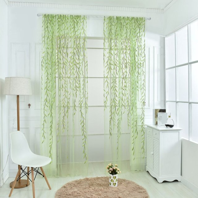 Wicker Curtain Yarn Tulle Curtain Window Decor Glass Yarn Printing  Embroidery For Living Room Bedroom Screen