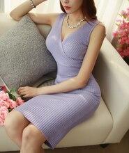 Free Shipping High Quality Korean Winter New Arrival Deep V Collar Cross Knitting Sleeveless Slim Dress Purple/Pink/Black