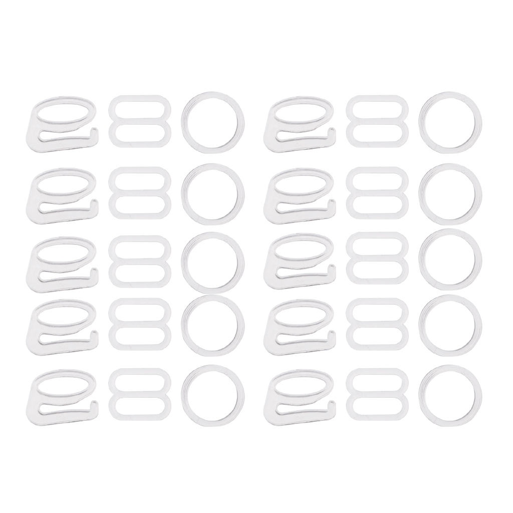 Black 50 Sets ALLinONE 1 Box Plastic Adjustment Strap Slides and Rings Bra Strap Slide Hook Clasp with Container for DIY Craft Sewing