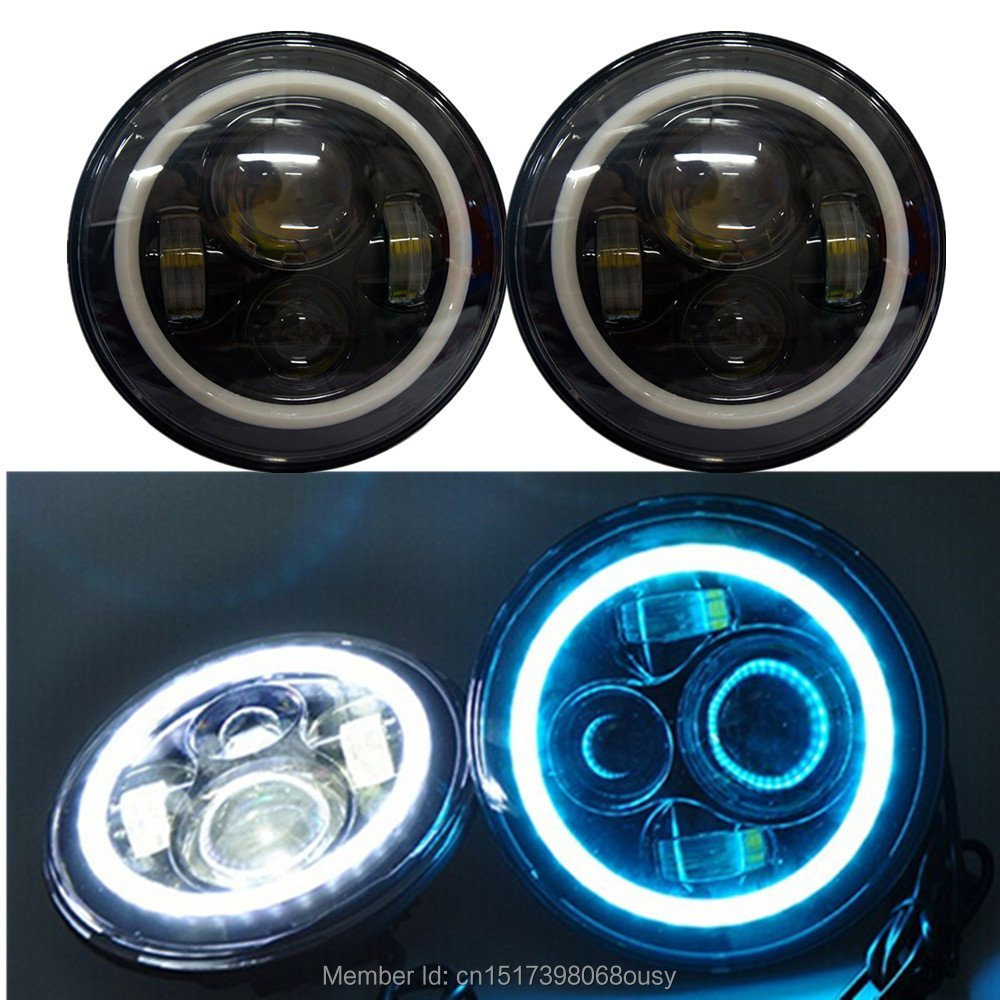 7inch LED Motorcycle Headlights 7 Round 40W High/Low Beam With Angel eyes for 97-2015 Jeeps Wrangler JK