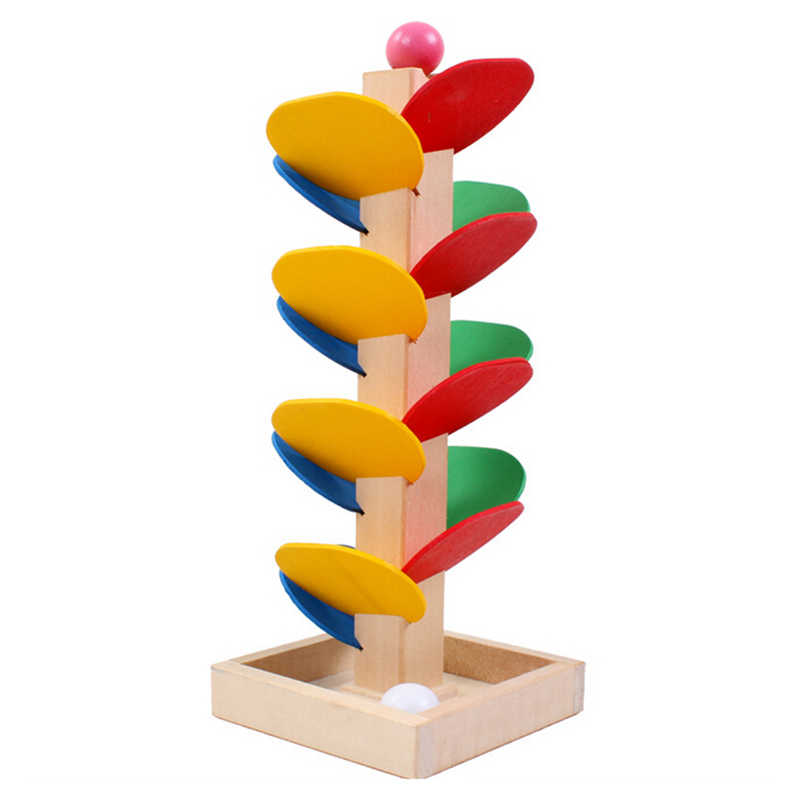 Montessori Educational Toy Blocks Wooden Tree Run Track Game Baby Marble Ball  Kids Children Intelligence Early Educational Toy
